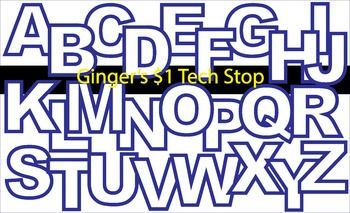 WHITE AND BLUE! * Bulletin Board Letters *  Upper Case * Alphabet