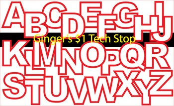WHITE AND RED! * Bulletin Board Letters *  Upper Case * Alphabet