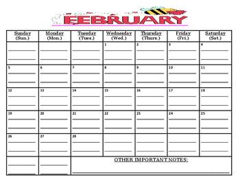WHITE COPY: READY TO GO-February 2017 calendar (w/due date