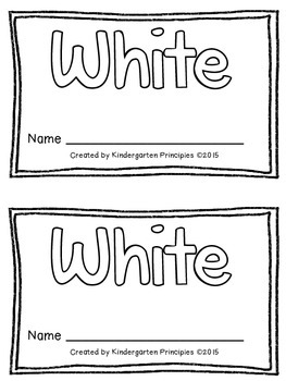 WHITE: Emergent Reader (Common Core Aligned)