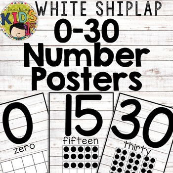 WHITE SHIPLAP NUMBER POSTERS 0-30 with Ten Frames