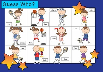 WHO AM I? # 10 SPORTY KIDS Oral language speaking game WHOLE CLASS