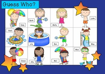 WHO AM I? # 11 SUMMER FUN KIDS Oral language speaking game WHOLE CLASS