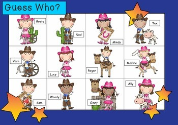 WHO AM I? # 12 COWBOY KIDS Oral language speaking game WHOLE CLASS
