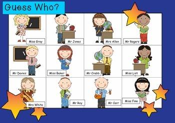 WHO AM I? # 13 TEACHERS Oral language speaking game QUESTI