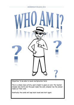 WHO AM I? Multiplication Facts