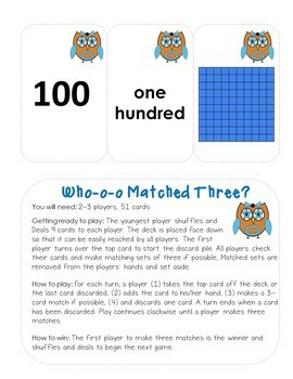 WHO-O-O MATCHED THREE place value game
