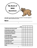 WHO QUESTIONS Assessment Booklet- Speech Therapy, Autism, Language