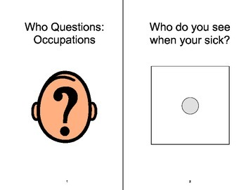 WHO Questions- Occupations ADAPTED Velcro BOOK, Speech Therapy, Autism