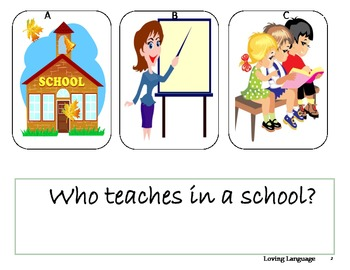 WHO WHAT WHERE- Questions for preschool and early elementary.