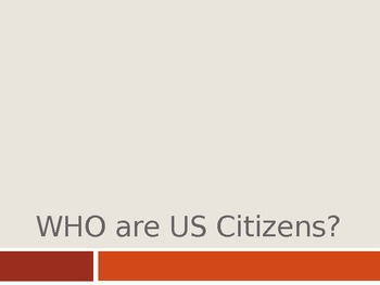 WHO are US Citizens? Interactive PowerPoint Lecture