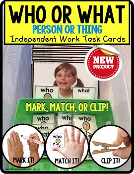 "WHO or WHAT Categories TASK CARDS ""Task Box Filler"" for Special Education"