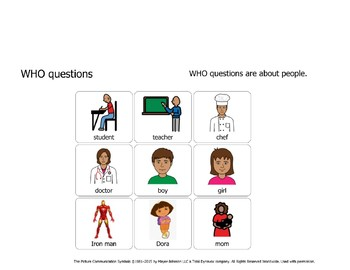 WHO questions with visual answers for emerging communicators