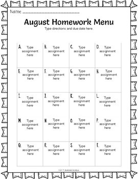 WHOLE YEAR Editable Homework Menu and Reading Log Pack