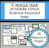Science Keywords Bell Ringers and Homework for Middle School