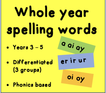 WHOLE YEAR spelling words