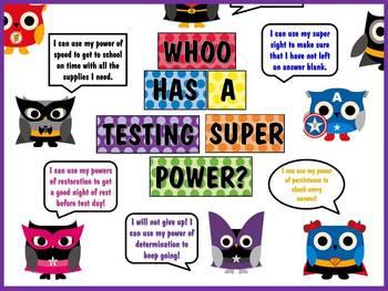 WHOO Has a Testing Super Power Test Prep Bulletin Board
