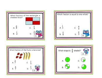 WHOO Has the Right Fractions - Naming Fractions Task Cards
