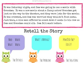 WHOOO Can Retell A Story? Digital NO PRINT Digital Language Lesson Freebie