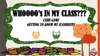 WHOOO's IN MY CLASS Card Game