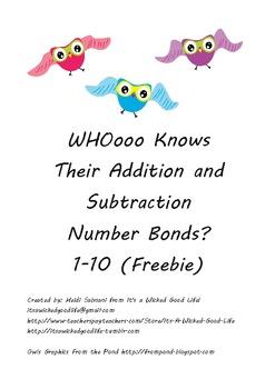 WHOooo Knows Their Number Bonds to 10 Freebie