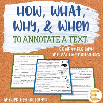 WHY, HOW, WHAT, & WHEN To Annotate {Fill-in-the-Blank Notes}