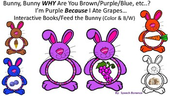 "WHY Questions and ""BECAUSE""-  Bunnies, Healthy Food, Color"