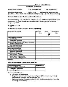 WIAT-III 3rd Edition Template