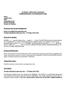 WIAT-III Report Template