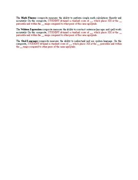 WIAT-III Report Template