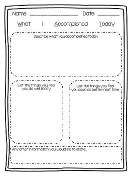 WIAT--What I Accomplished Today--Self Assessment/Reflection
