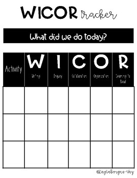 WICOR Tracker & Reflection Sheet