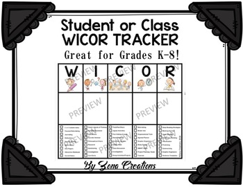 WICOR Tracker Student or Class Chart - For All Ages!