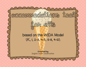 WIDA Accommodations Planning Tool for ELLs