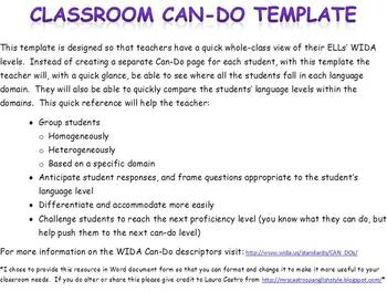 WIDA Classroom Can-Do Template