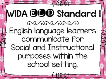WIDA ELD Standards for English language learners FREEBIE