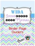 WIDA Screener Binder Pages