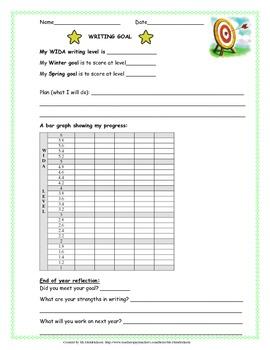 WIDA Writing Goal-Setting Sheet for ELLs