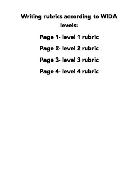 WIDA Writing Rubrics
