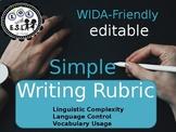 WIDA-friendly SIMPLE writing RUBRIC editable