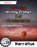 WIDA-style EDITABLE writing prompt: Balloons K-2