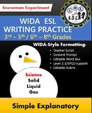 WIDA-style EDITABLE writing prompt: Snowman experiment