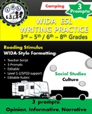 WIDA-style EDITABLE writing prompts: Tents v.s. Campers  3 in 1