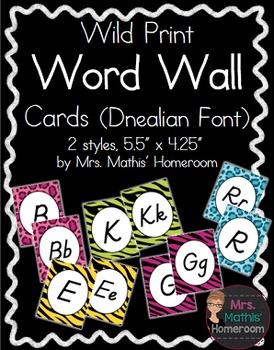 WILD ANIMAL PRINT WORD WALL LETTER CARDS, D'NEALIAN FONT