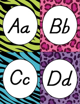 WILD ANIMAL PRINT WORD WALL LETTER CARDS, D'NEALIAN FONT