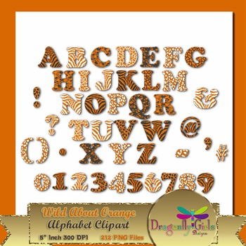 WILD About Burnt Orange Alphabet commercial use,vector gra
