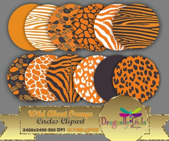 WILD About Burnt Orange Circles commercial use,vector graphics,digital clip art