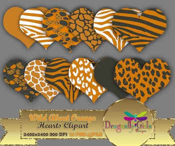 WILD About Burnt Orange Hearts commercial use,vector graphics,digital clip art