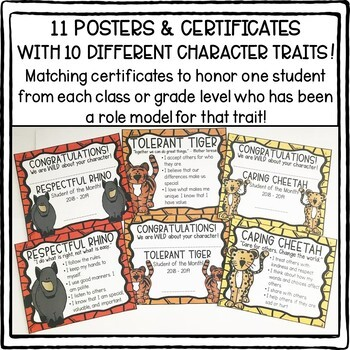 WILD About Character Zoo Animal Trait Posters and Award Certificates