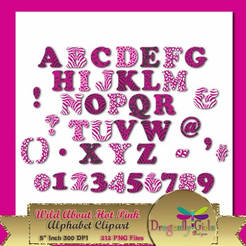 WILD About Hot Pink Alphabet commercial use,vector graphics,digital clip art